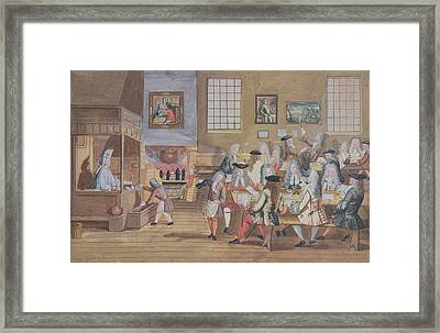 Interior Of A London Coffee House, C.1650-1750 Wc On Paper Framed Print by English School
