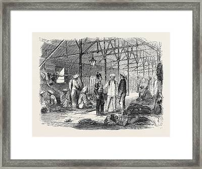 Interior Of A Mat Shed In Hong Kong Framed Print by English School