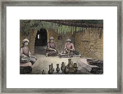 Interior Of A Potters Workshop Framed Print by Nicolas Jacques Conte