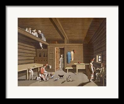Cabin Interiors Drawings Framed Prints