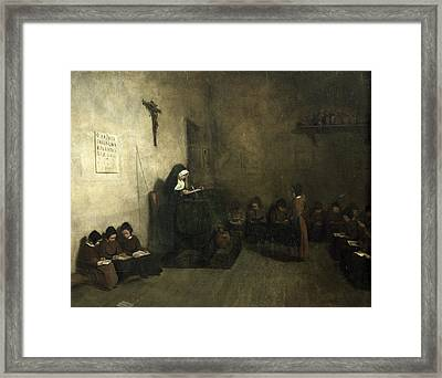 Interior Of A School For Orphaned Girls, 1850 Oil On Canvas Framed Print by Francois Bonvin