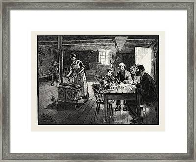 Interior Of A Settlers Cabin, Canada Framed Print
