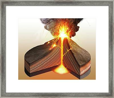 Interior Of A Stratovolcano Framed Print by Mark Garlick