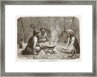 Interior Of A Turcoman Tent Framed Print by English School