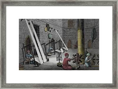Interior Of A Weavers Workshop Framed Print