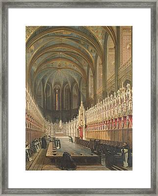 Interior Of Albi Cathedral, 1832 Oil On Canvas Framed Print by Adrien Dauzats