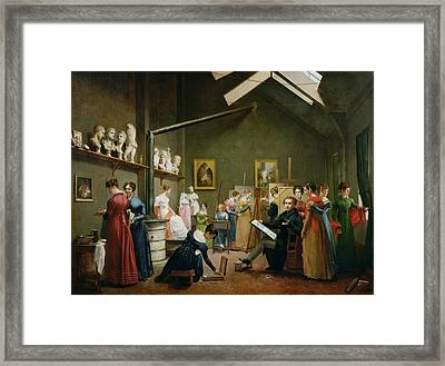 Interior Of Alexandre Denis Abel De Pujols 1787-1861 Studio Oil On Canvas Framed Print by Adrienne-Marie Grandpierre-Deverzy