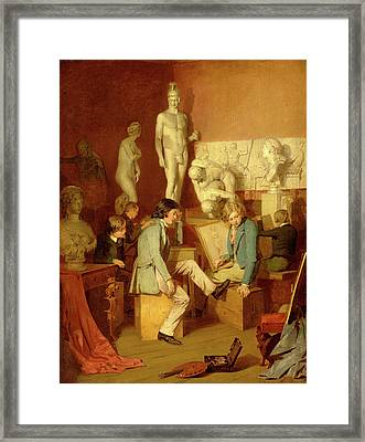 Interior Of An Academy The Critics Signed In Brown Paint Framed Print by Litz Collection