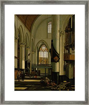 Interior Of An Imaginary Protestant Gothic Church Framed Print