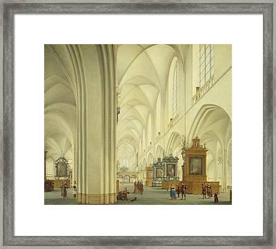 Interior Of Antwerp Cathedral, C.1668 Framed Print by Isaac van Nickele