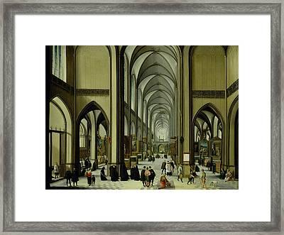 Interior Of Antwerp Cathedral Oil On Canvas Framed Print by Hendrik van Steenwyck