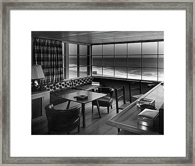 Interior Of Beach House Owned By Anatole Litvak Framed Print by Fred R. Dapprich