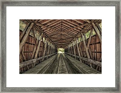 Interior Of Covered Bridge, Indiana, Usa Framed Print by Rona Schwarz