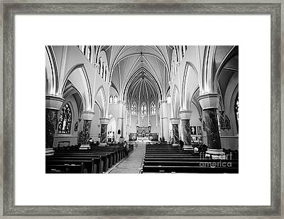 interior of holy rosary cathedral headquarters of the roman catholic archdiocese of Vancouver BC Can Framed Print by Joe Fox