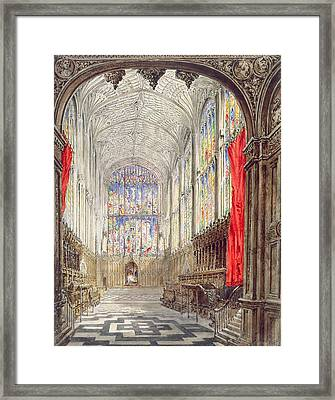 Interior Of Kings College Chapel, 1843 Framed Print