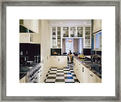 Interior Of Modern Kitchen Framed Print by Mary E. Nichols