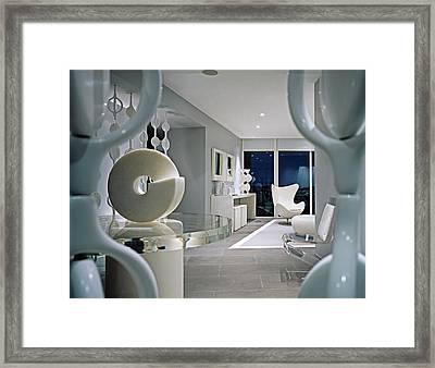 Interior Of Modern Living Room Framed Print by Durston Saylor
