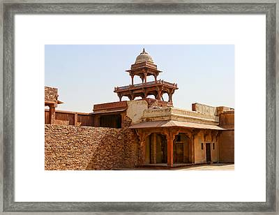 Interior Of Red Stone Palace In India Framed Print