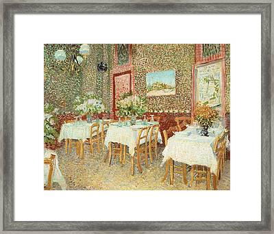 Interior Of Restaurant Framed Print by Vincent van Gogh