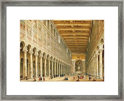 Interior Of San Paolo Fuori Le Mura Framed Print by Giovanni Paolo Panini