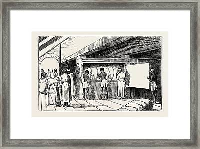Interior Of Shuna The Hydraulic Press, Banding The Bales Framed Print by Egyptian School