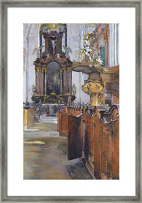 Interior Of St Michaelis In Hamburg Framed Print by Gotthardt Johann Kuehl