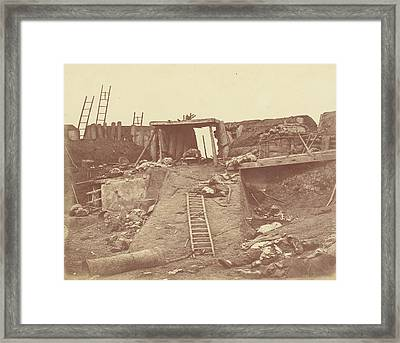 Interior Of The Angle Of North Fort Felice Beato Framed Print by Litz Collection