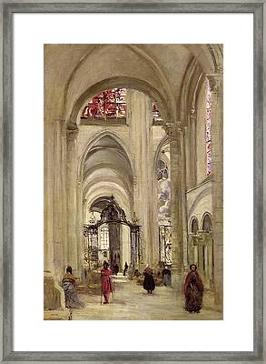 Interior Of The Cathedral Of St. Etienne, Sens Framed Print by Jean Baptiste Camille Corot