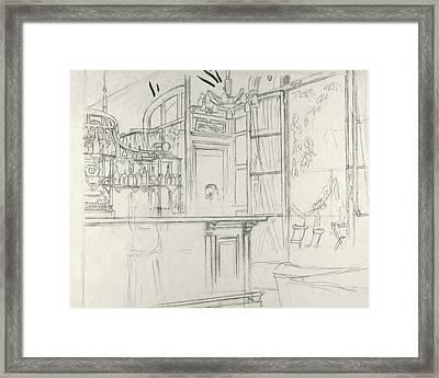 Interior Of The Grand Conde Bar Framed Print by Carl Oscar August Erickson