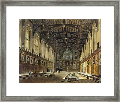 Interior Of The Hall Of Christ Church Framed Print by Augustus Charles Pugin