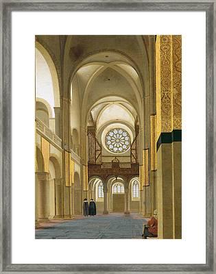 Interior Of The Marienkirche In Utrecht, 1638 Oil On Panel Detail Of 150808 Framed Print by Pieter Jansz Saenredam