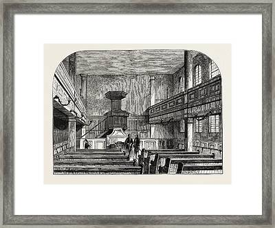 Interior Of The Moravian Chapel In Fetter Lane London Framed Print by English School