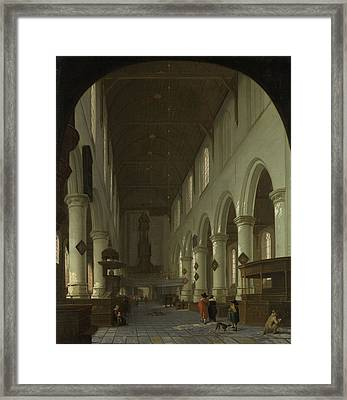 Interior Of The Oude Kerk In Delft From The Choir Framed Print by Litz Collection
