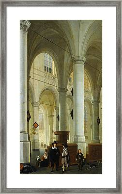 Interior Of The Oude Kerk In Delft Framed Print by Hendrik Cornelisz van Vliet