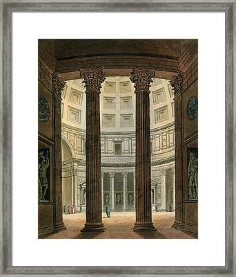 Interior Of The Pantheon, Rome Framed Print by Fumagalli