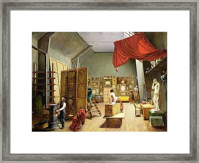 Interior Of The Studio Of Abel De Pujol 1787-1861 1836 Oil On Canvas Framed Print by Adrienne-Marie Grandpierre-Deverzy
