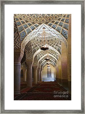 Interior Of The Winter Prayer Hall Of The Nazir Ul Mulk Mosque At Shiraz In Iran Framed Print by Robert Preston