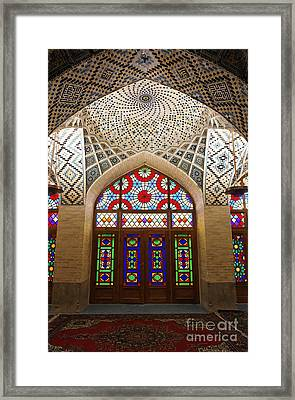 Interior Of The Winter Prayer Hall Of The Nazir Ul Mulk Mosque In Shiraz Iran Framed Print by Robert Preston