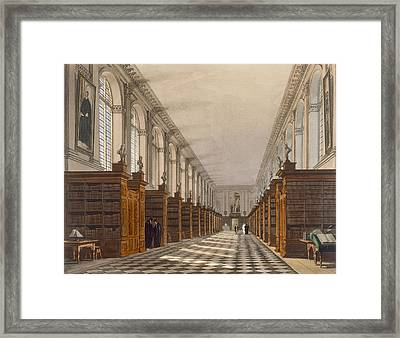 Interior Of Trinity College Library Framed Print by Augustus Charles Pugin