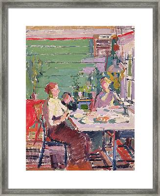 Interior Scene, Possibly In Norway, C.1912 Oil On Canvas Framed Print