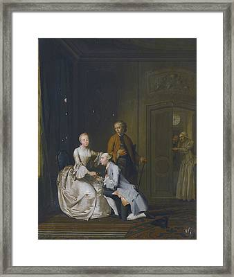 Interior Scene With A Lady And Two Suitors Framed Print