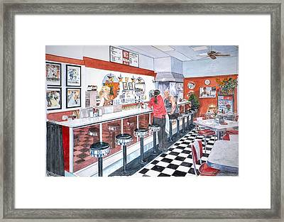 Interior Soda Fountain Framed Print