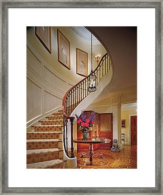 Interior View Home With Staircase Framed Print
