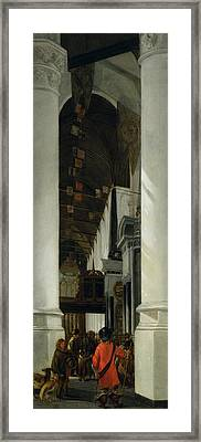 Interior View Of The New Church In Delft Framed Print by Emanuel de Witte