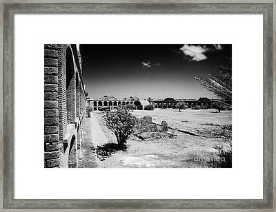 Interior Walls And Courtyard Of Fort Jefferson Dry Tortugas National Park Florida Keys Usa Framed Print by Joe Fox