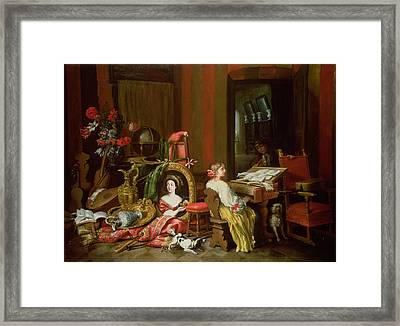 Interior With A Lady At A Harpsichord Framed Print