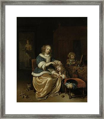 Interior With A Mother Combing Her Child's Hair Framed Print