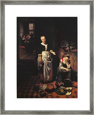 Interior With A Sleeping Maid And Her Mistress Framed Print by Nicolaes Maes