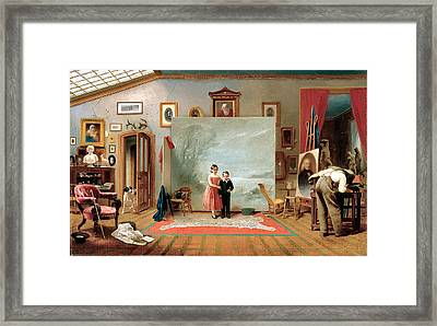 Interior With Portraits Framed Print