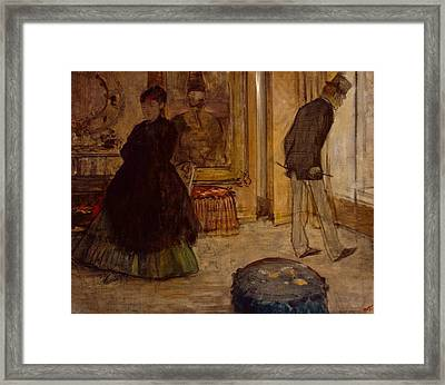 Interior With Two Figures Framed Print by Edgar Degas